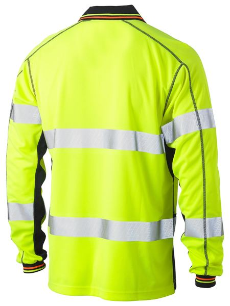Bisley Bisley Taped Two Tone Hi Vis Polyester Mesh Long Sleeve Polo Shirt (BK6219T) - Trade Wear