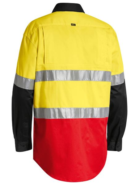 Bisley Bisley 3M Taped Hi Vis Cool Light Weight Three Tone Long Sleeve Shirt (BS6697T) - Trade Wear