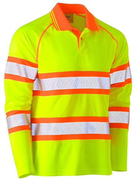 Bisley Bisley Tape Double Hi Vis Mesh Polo Shirt - Long Sleeve (BK6223T) - Trade Wear