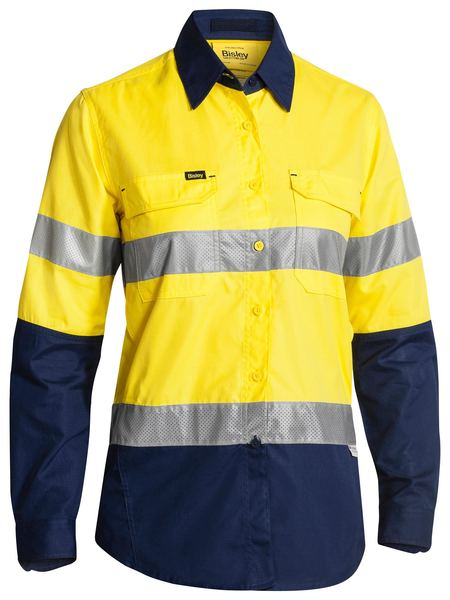 Bisley Bisley Womens 3M Taped Hi Vis X Airflow™ Ripstop Shirt - Yellow/Navy (BL6415T) - Trade Wear
