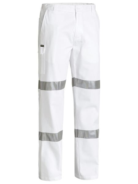 Bisley Bisley 3M Taped Cotton Drill White Work Pant (BP6808T) - Trade Wear