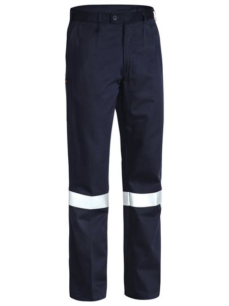 Bisley Flame Resistant Hi Vis Taped Drill Pant - Navy (BP8000) - Trade Wear