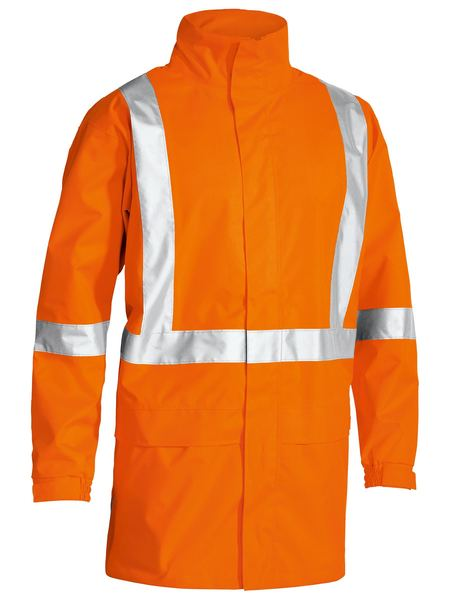 Bisley X Taped Hi Vis Rain Shell Jacket - Orange (BJ6968T) - Trade Wear