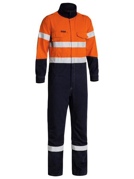 Bisley Bisley Taped Two Tone Hi Vis FR Engineered Vented Coverall-Orange/Navy (BC8086T) - Trade Wear