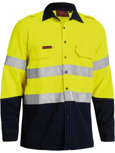 Bisley Tencate Tecasafe Plus Taped Two Tone Hi Vis FR Vented Long Sleeve Shirt (BS8082T) - Trade Wear