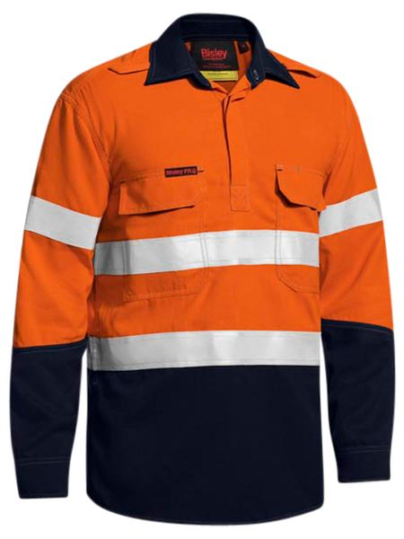 Bisley Taped Two Tone Hi Vis Closed Front Vented Shirt - Long Sleeve (BSC8075T) - Trade Wear