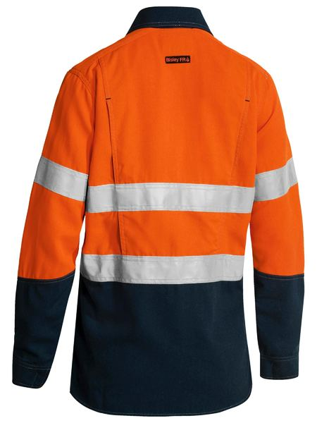 Bisley Bisley Womens Taped 2 Tone FR HiVis Lightweight Vented Long Sleeve (BL8098T) - Trade Wear