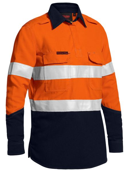 Bisley Bisley Womens Taped Two Tone Hi Vis Closed Front Vented Shirt - Long Sleeve (BLC8075T) - Trade Wear