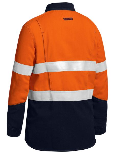 Bisley Womens Taped Two Tone Hi Vis Closed Front Vented Shirt - Long Sleeve (BLC8075T) - Trade Wear