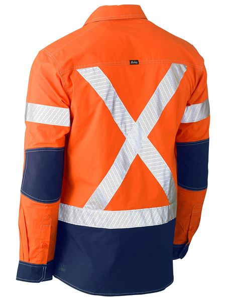 Bisley Bisley Flex & Move™ Two Tone Hi Vis Stretch Utility Shirt - Long Sleeve (BS6177XT) - Trade Wear