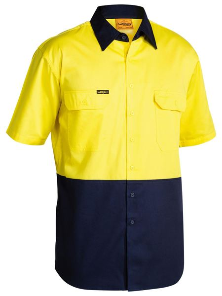 Bisley Bisley 2 Tone Cool Lightweight Drill Shirt Short Sleeve (BS1895) - Trade Wear