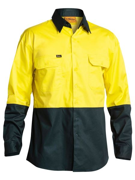 Bisley Bisley 2 Tone Hi Vis Cool Ventilated Drill Shirt Long Sleeve (BS6895) - Trade Wear
