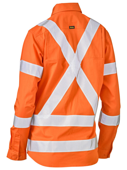 Bisley Womens Taped X Back Lightweight Hi Vis Drill Shirt (BL6166XT)