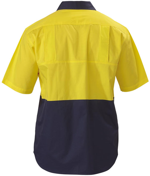 Bisley 2 Tone Cool Lightweight Drill Shirt - Short Sleeve - Yellow/Navy - Trade Wear