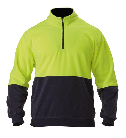 Bisley Hi Vis Polarfleece Zip Pullover - Yellow/Navy (BK6889) - Trade Wear