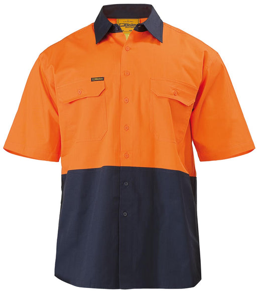 Bisley 2 Tone Cool Lightweight Drill Shirt - Short Sleeve - Orange/Navy (BS1895) - Trade Wear