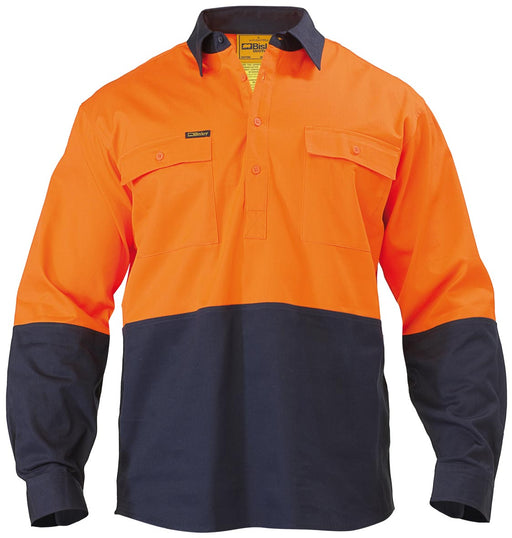 Bisley 2 Tone Closed Front Hi Vis Drill Shirt - Long Sleeve - Orange/Navy - Trade Wear
