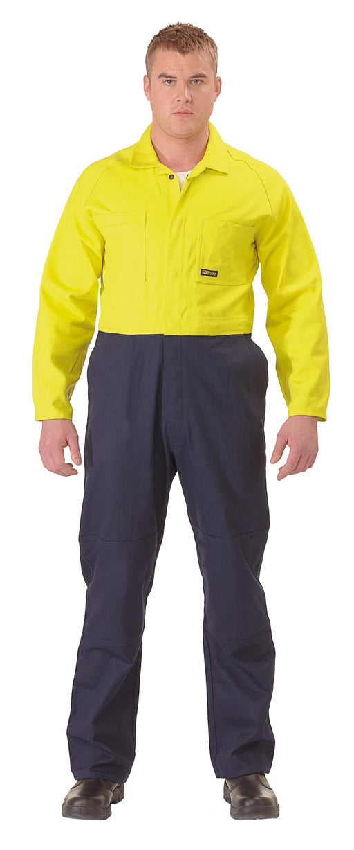 Bisley 2 Tone Hi Vis Coveralls Regular Weight - Yellow/Navy (BC6357) - Trade Wear