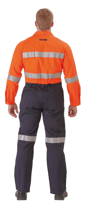 Bisley Fire Retardant Coverall 3M FR Reflective Tape - Orange/Navy (BC8001) - Trade Wear
