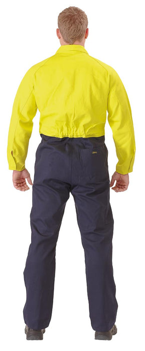 Bisley 2 Tone Hi Vis Coveralls Regular Weight - Yellow/Navy - Trade Wear