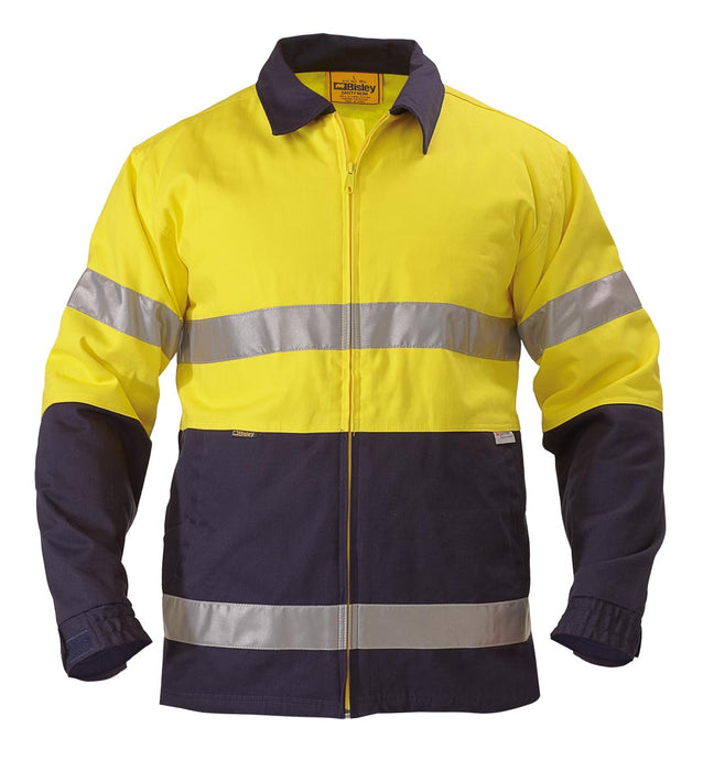 Bisley Bisley 2 Tone Hi Vis Drill Jacket 3M Reflective Tape - Yellow/Navy (BK6710T) - Trade Wear