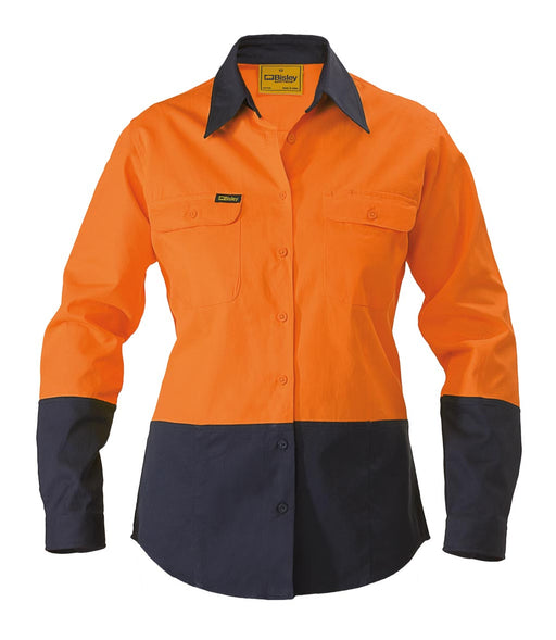 Bisley Ladies 2 Tone Hi Vis Drill Shirt - Long Sleeve - Orange/Navy - Trade Wear