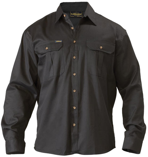 Bisley Original Cotton Drill Shirt - Long Sleeve - Black - Trade Wear