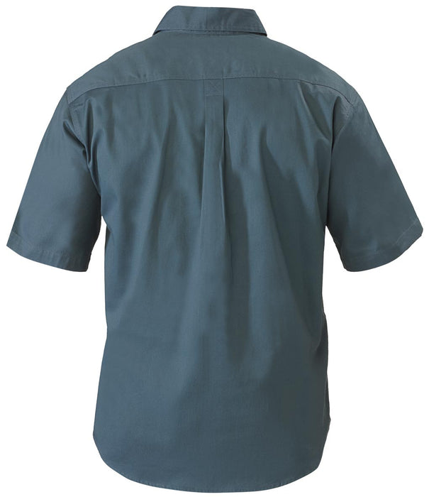 Bisley Closed Front Cotton Drill Shirt - Short Sleeve - Bottle (BSC1433) - Trade Wear