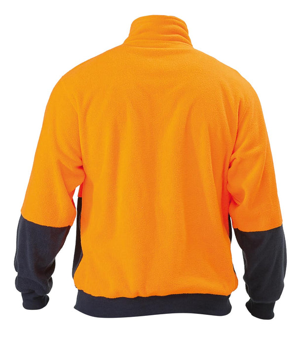 Bisley Hi Vis Polarfleece Zip Pullover - Orange/Navy - Trade Wear