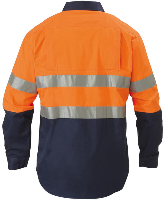 Bisley Bisley 2 Tone 3M Hi Vis Lightweight Gusset Cuff Shirt -Long Sleeve- Orange/Navy (BS6896) - Trade Wear