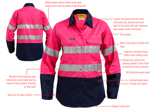Bisley Ladies 2 Tone 3M Lightweight Hi Vis Shirt in Pink/Navy
