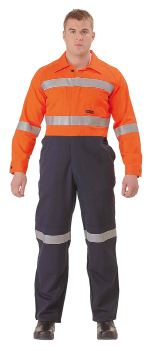 Bisley Fire Retardant Coverall 3M FR Reflective Tape - Orange/Navy - Trade Wear