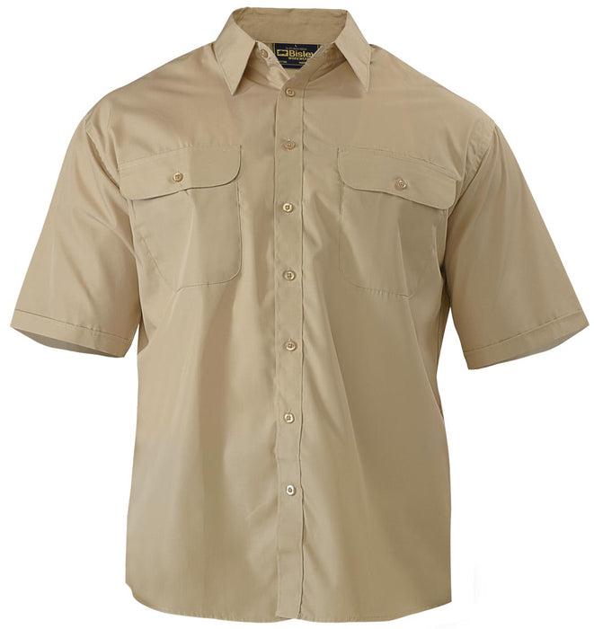 Bisley Bisley Permanent Press Shirt - Short Sleeve - Sand (BS1526) - Trade Wear