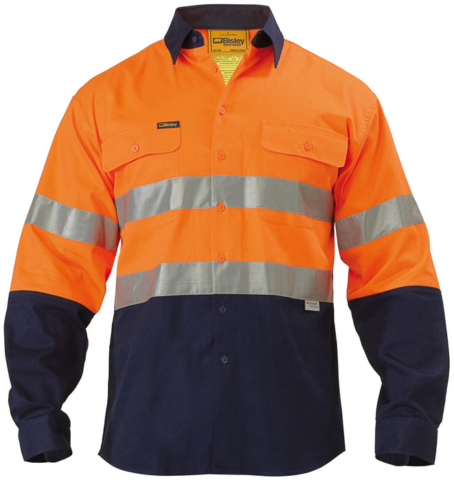 Bisley Bisley 2 Tone Hi Vis Shirt 3M Reflective Tape - Long Sleeve - Orange/Navy (BT6456) - Trade Wear