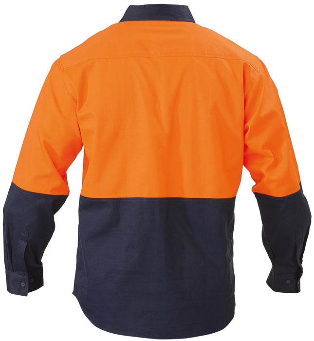 Bisley 2 Tone Closed Front Hi Vis Drill Shirt - Long Sleeve - Orange/Navy (BSC6267) - Trade Wear