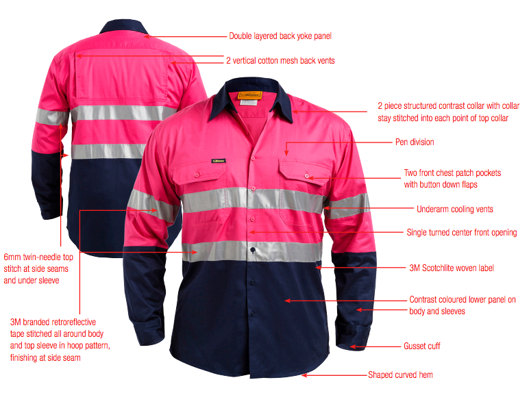 Bisley Bisley 2 Tone 3M Cool Lightweight Gusset Cuff Shirt in Pink/Navy (BS6896) - Trade Wear
