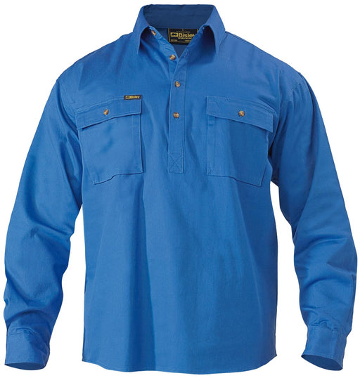 Closed Front Cotton Drill Shirt - Long Sleeve - Royal