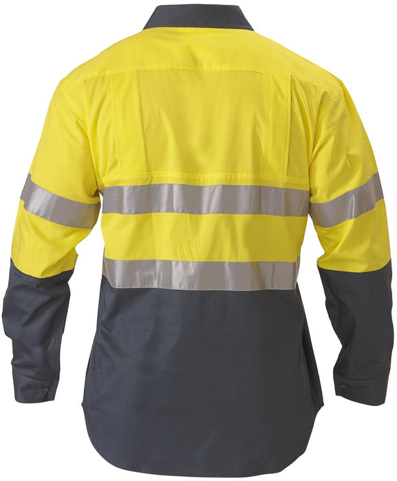 Bisley 2 Tone 3M HiVis Lightweight Gusset Cuff Shirt -Long Sleeve-Yellow/Bottle (BS6896) - Trade Wear
