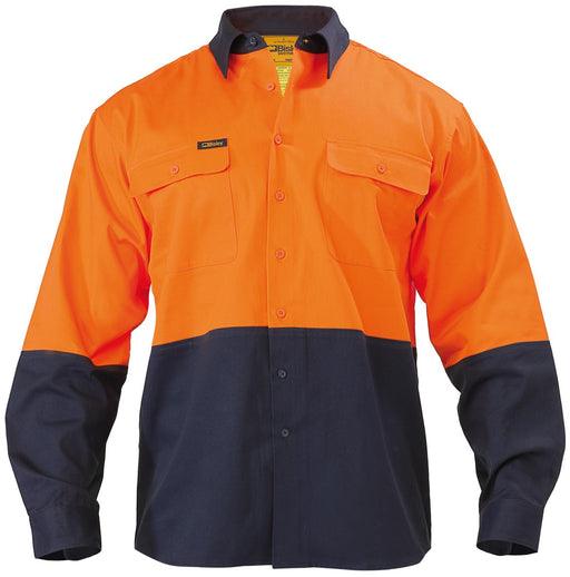 Bisley Bisley 2 Tone Hi Vis Drill Shirt - Long Sleeve - Orange/Navy (BS6267) - Trade Wear