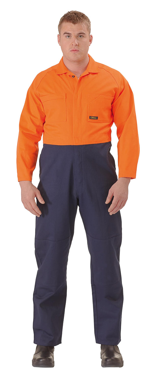 Bisley 2 Tone Hi Vis Coveralls Regular Weight - Orange/Navy (BC6357) - Trade Wear