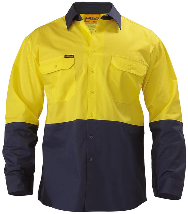 Bisley 2 Tone Hi Vis Cool Ventilated Drill Shirt - Long Sleeve - Yellow/Navy (BS6895) - Trade Wear