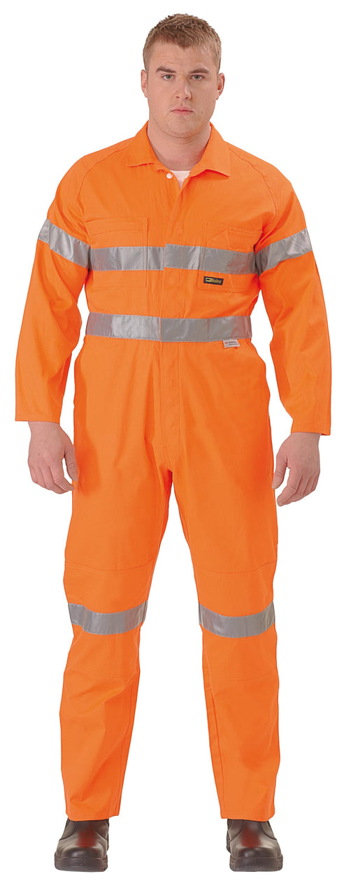 Bisley Hi Vis Lightweight Coveralls 3M Reflective Tap - Orange (BC6718TW) - Trade Wear