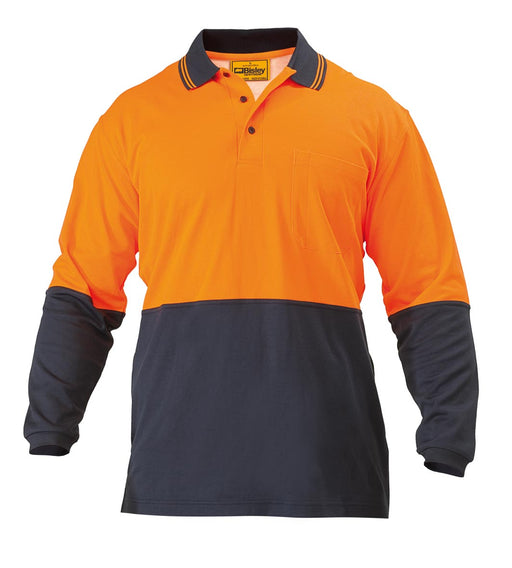 Bisley 2 Tone Hi Vis Polo Shirt - Long Sleeve - Orange/Navy (BK6234) - Trade Wear