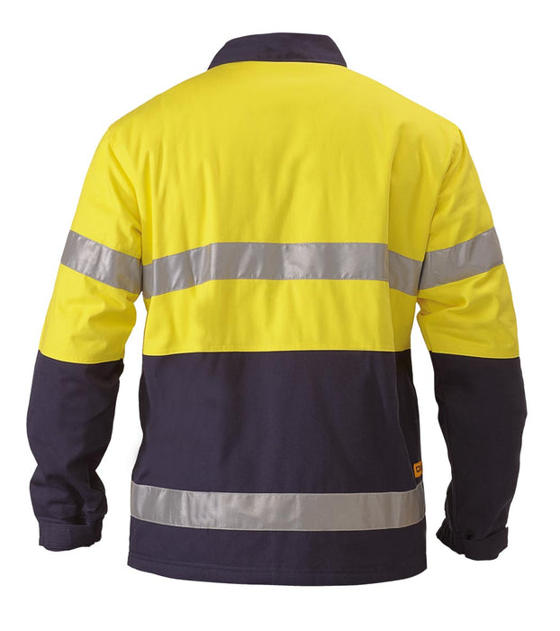 Bisley 2 Tone Hi Vis Drill Jacket 3M Reflective Tape - Yellow/Navy (BK6710T) - Trade Wear