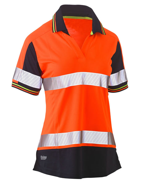 Bisley Bisley Womens Short Sleeve Taped Two Tone Hi Vis V-Neck Polo (BKL1225T) - Trade Wear