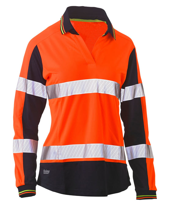 Bisley Bisley Womens Long Sleeve Taped Two Tone Hi Vis V-Neck Polo (BKL6225T) - Trade Wear