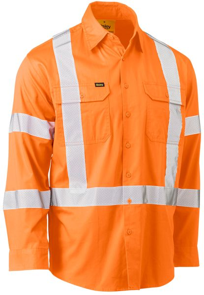 Bisley Bisley Taped X Back Cool Lightweight Hi Vis Drill Shirt (BS6166XT)-Orange - Trade Wear