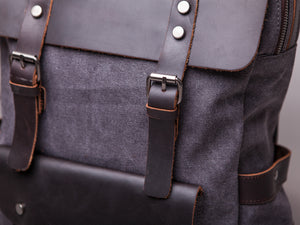 The Burford Leather and Canvas Backpack