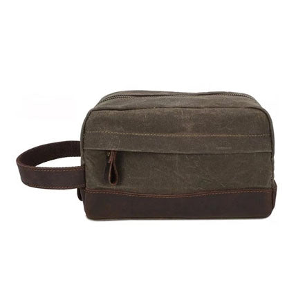 The Dursley waxed canvas and leather toiletry bag (New 2019)