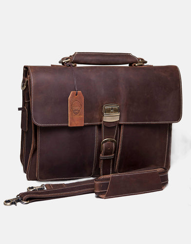 The Bruern Top Grain Leather Business-Style Laptop Bag